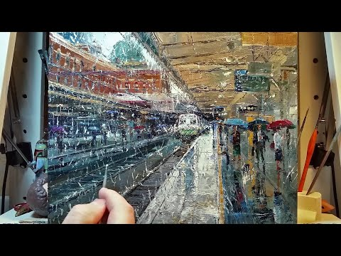 Rainy Train Station – How to – Oil Painting – Palette Knife | Brush – Platform Melbourne Dusan