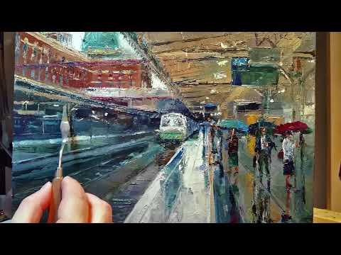Rainy Train Station – How to – Oil Painting – Palette Knife | Brush – Platform Melbourne Dusan