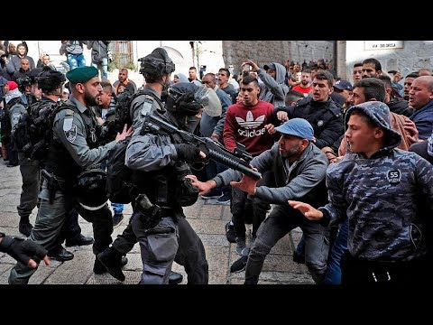 Download Youtube: Palestinians scuffle with Israeli forces, rally against Trump