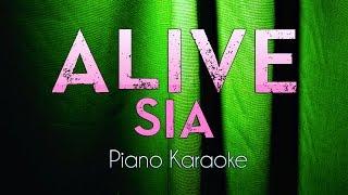 Alive - Sia | Piano Karaoke Instrumental Lyrics Cover Sing Along
