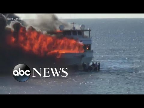 Video shows 'Island Lady' casino shuttle boat engulfed in flames