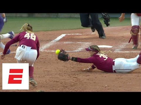 FSU beats Washington in WCWS Game 1 thanks to amazing diving-catch double-play | ESPN