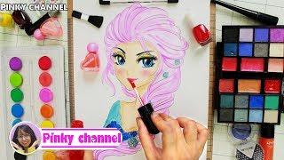 Make up game for girl make up Pink Elsa paper doll