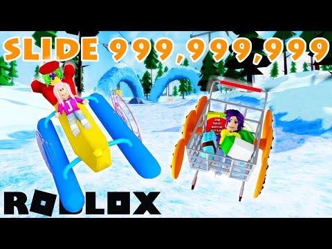 We sled down a mountain 999,999,999 feet using random items!   Roblox: Sled Simulator