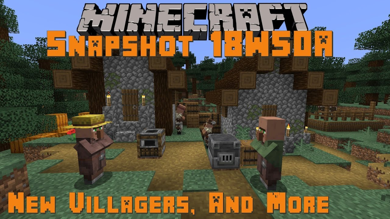 Minecraft 1 14 Snapshot 18w50a New Villagers Skins Blast Furnace