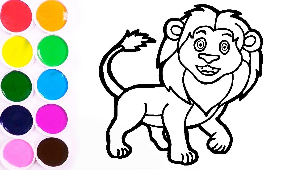 Aprende Colores Dibuja y Colorear Leon de Arco Iris