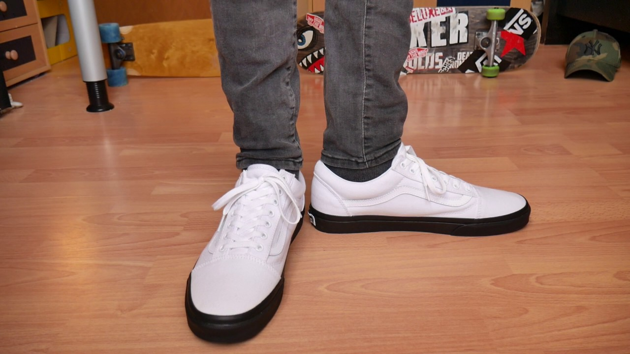 Vans Old Skool White Black GUM - On Feet - YouTube 596dc512409f