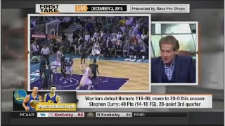 ESPN First Take - Warriors defeat Hornets & Stephen Curry Comes Home