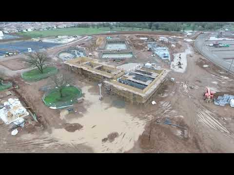 Aerial View of the Elk Grove Civic and Aquatics Center Construction: January 10th, 2018