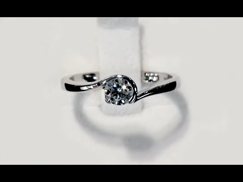 0.37 ct Diamond and 18 ct White Gold Solitaire Ring - Contemporary Circa 2000 A5162