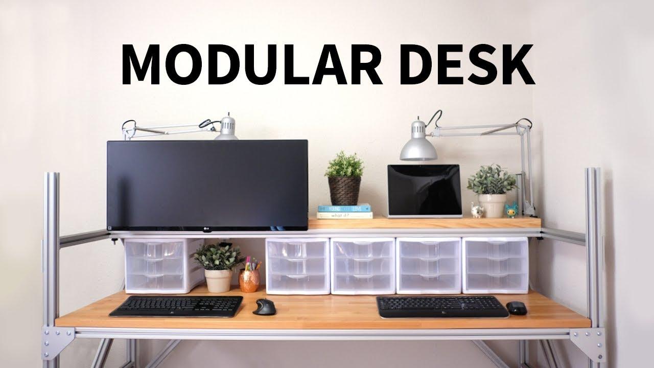 Modular Desk Using T Slot Aluminum How To Youtube