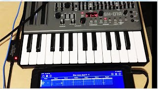 Korg Gadget 2 midi out to Roland Hardware SH01A (short clip 1) Audio starts at 3 seconds