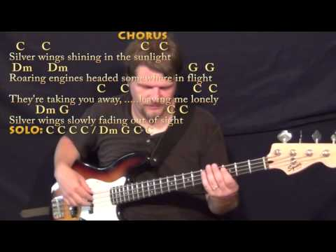 Silver Wings (Merle Haggard) Bass Guitar Cover Lesson in C with Chords/Lyrics
