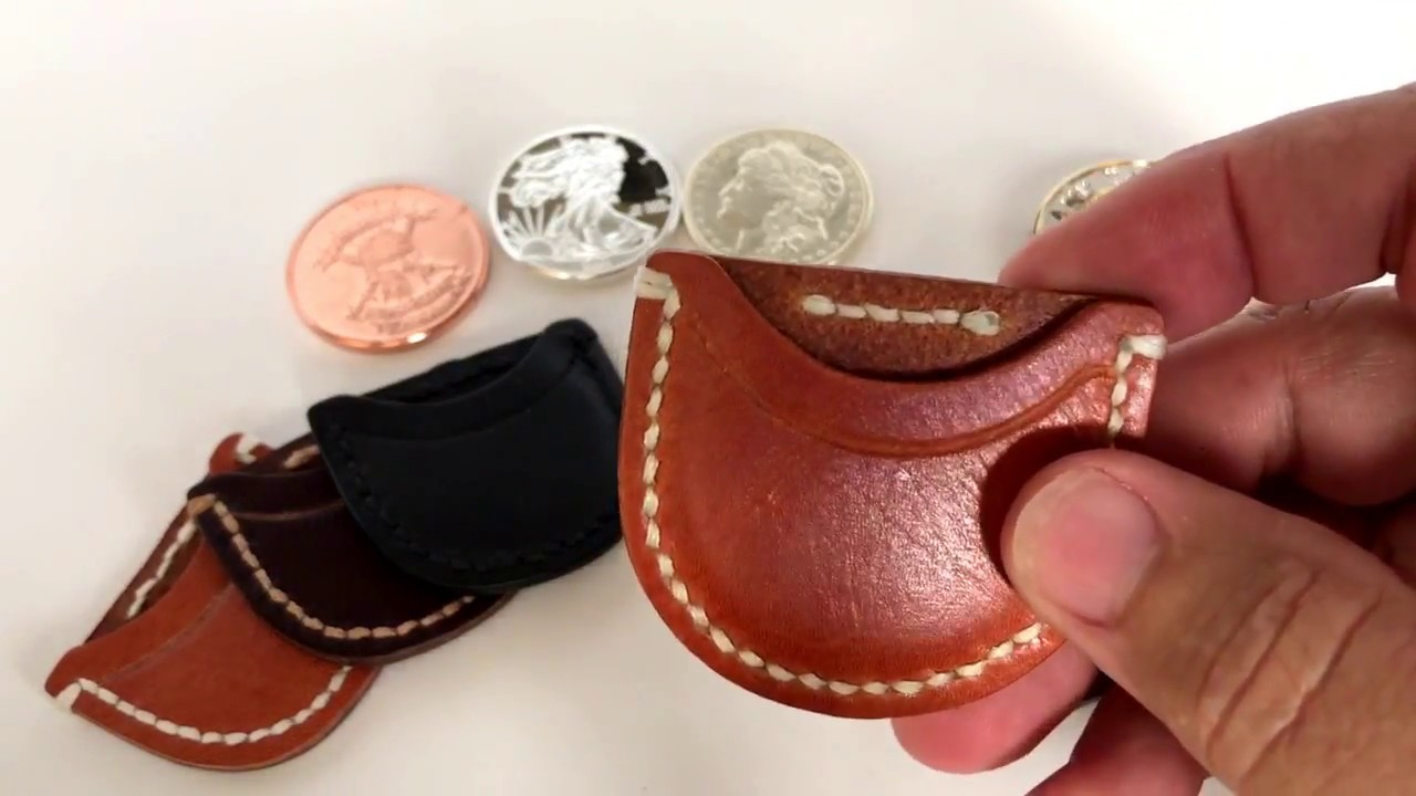 """Pouch Leather Coin Sleeve Protector for 1 oz Rounds or 1 3//4/"""" Challenge Coins"""