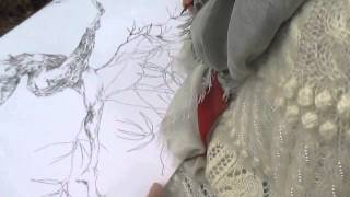 "Pleinair in Lithuania drawing""Dance at Yanki Kupalo Night"" artist Anna Plavinskaya"