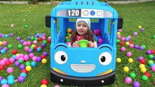 Have a Fun With Ulyana on The Best Outdoor Playground and Ride School bus