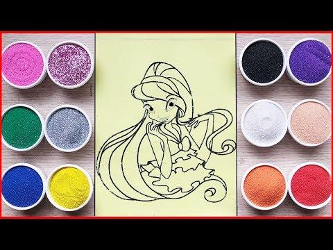 Tô màu tranh cát công chúa winX Blom - Colored sand painting winX toys - Đồ chơi trẻ em Chim Xinh