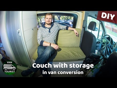 Making couch with storage in van conversion from ikea. DIY storage sofa for RV or campervan futon