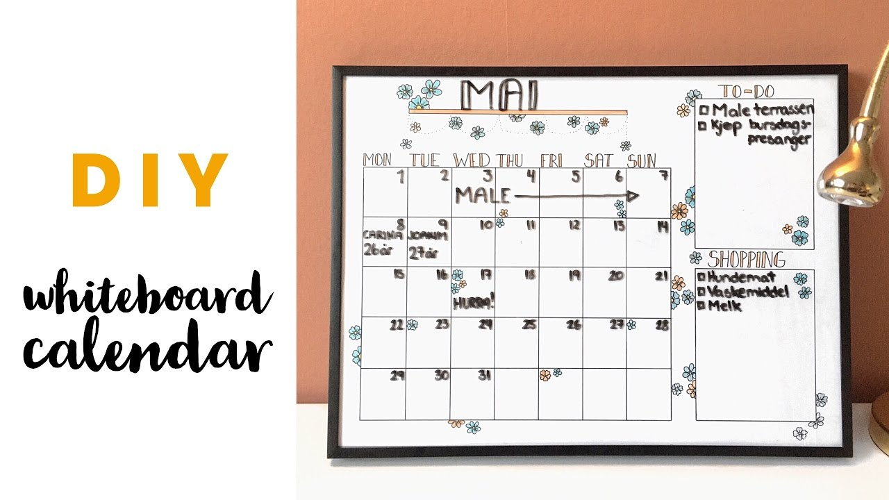 Diy Easy Whiteboard Calendar Youtube