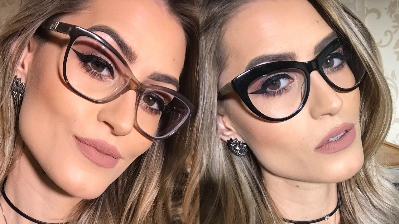 c328b32358297 Maquiagem para usar com óculos de grau - YouTube