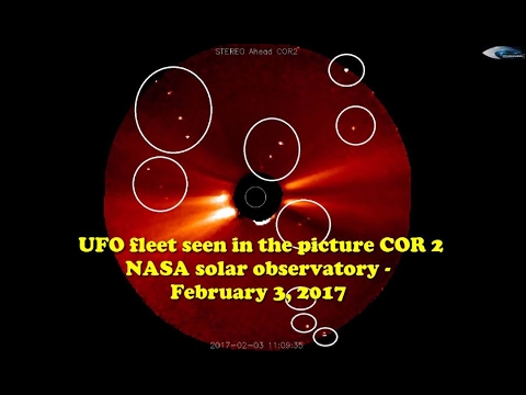 UFO fleet seen in the picture COR 2 NASA solar observatory - February 3, 2017