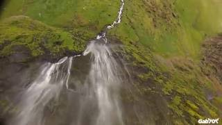 Iceland Extreme Drone shots, Cliff and waterfall diving