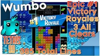 Tetris 99 - Epic #1 Victory Royales 3 All Clears and 385 Total Lines