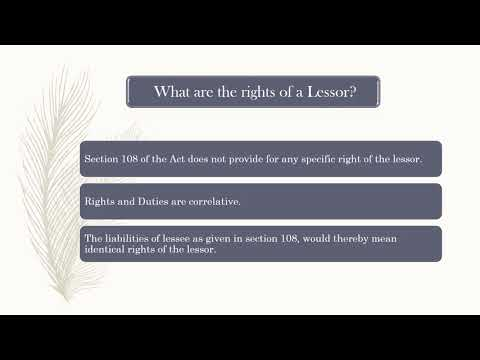 Property Law India - Rights and Liabilities of Lessor and Lessee in India - Lease