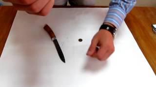 Небольшой  Тест Урок Ножа НР 112 из дамасской стали