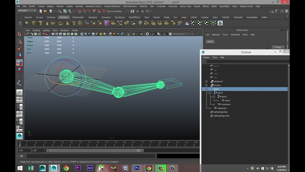 Maya rigging tutorial : Create a Character rig using joints