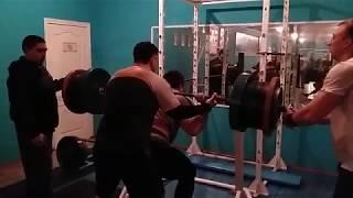 Приседание со штангой 320 кг - тренировка МСМК РК Владимир Голубев (Костанай-Карасу) / февраль 2019