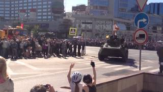 Проезд военной техники Новый Арбат - Садово-Кудринская улица. 9 мая 2014 года