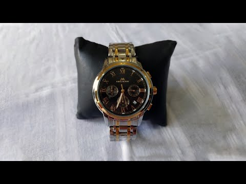 MEGALITH 0060M Black Dial Gold Silver Stainless Steel Band Watch For Men | Smart Pick BD