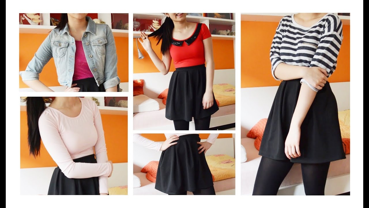 how i style // skater skirts ♡ 1 skirt 6 outfit ideas | spring