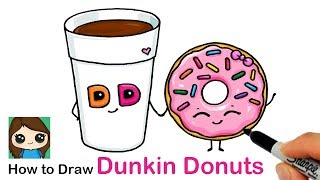 How to Draw a Cup of Coffee and Donut Easy | Dunkin Donuts