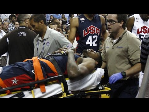 Paul George HORRIBLE INJURY (Team USA: Blue vs. White | 2014)