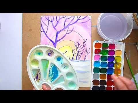 2 клас. Мистецтво. Кольори зимового ранку. Малюємо зимовий ранок акварельними фарбами.