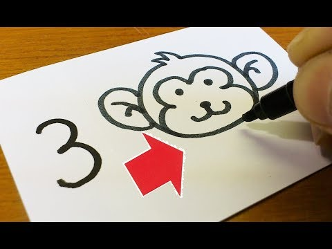 Very Easy!How to turn Numbers 1-5 into a Cartoon for kids - Animals - How to Draw doodle art