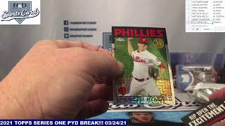 R and D Sports Cards 21 TOPPS SERIES ONE HOBBY PYD BREAK