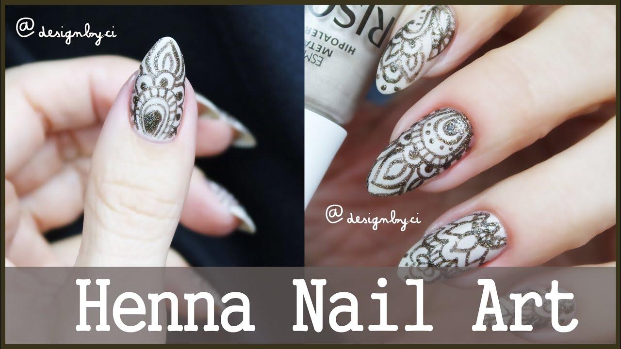 Henna Mehndi Nail Art : Henna nas unhas mehndi nail art designbyci youtube