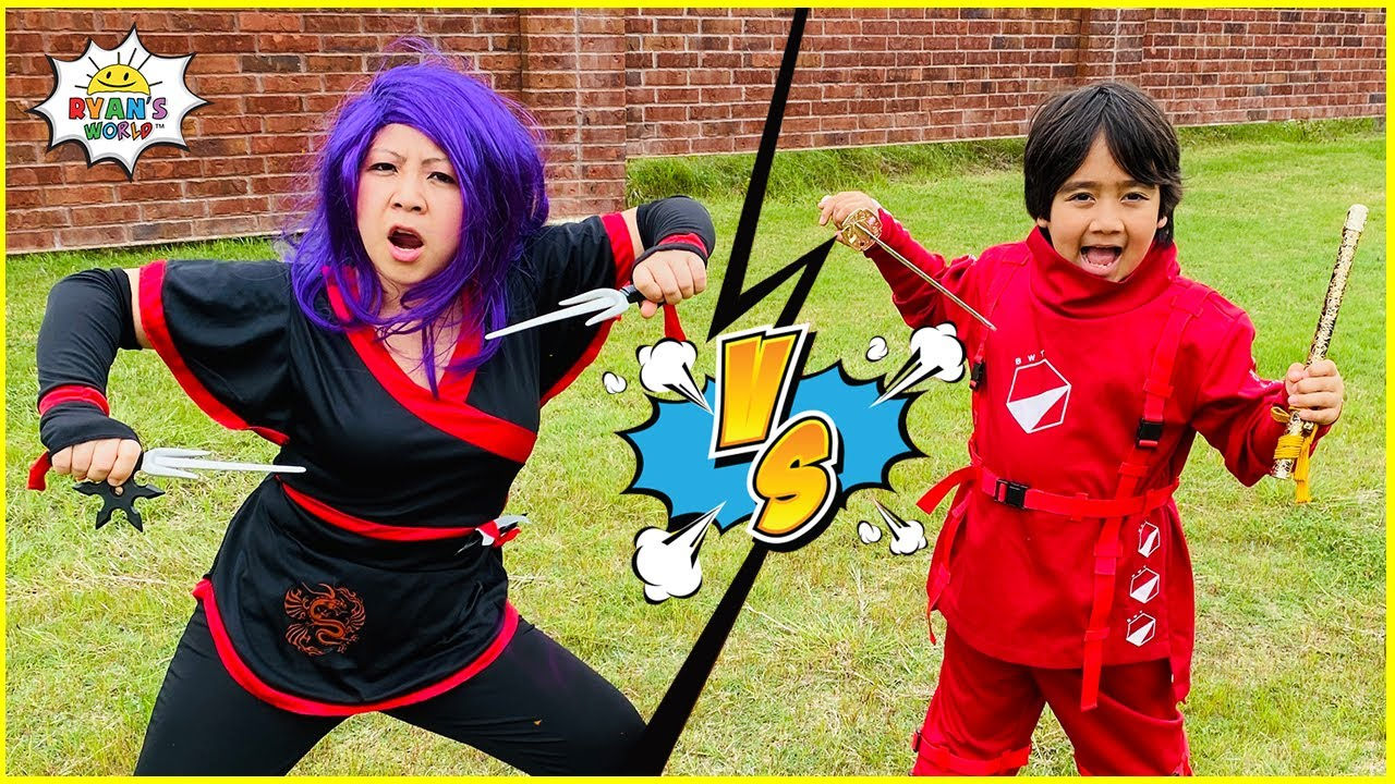 Ninja Ryan vs Dragon Ninja Mommy Master the elements Challenge!