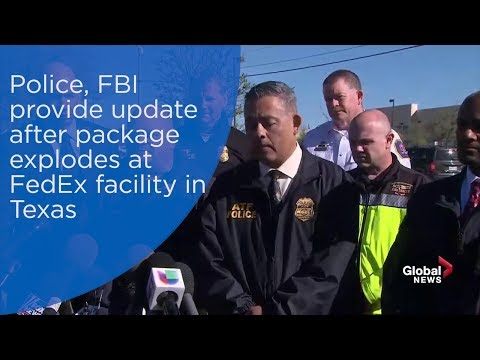 Police, FBI provide update after package explodes at FedEx facility in Texas