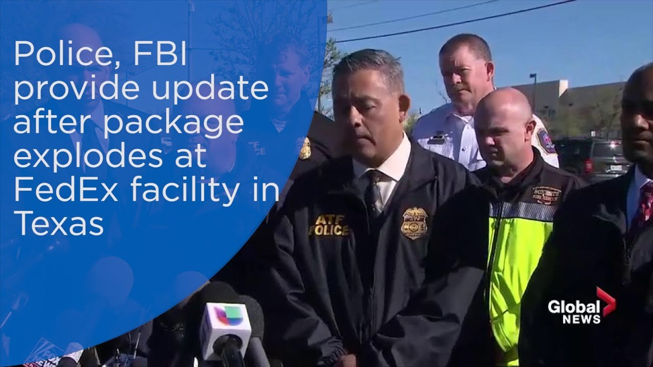 police fbi provide update after package explodes at fedex facility in texas