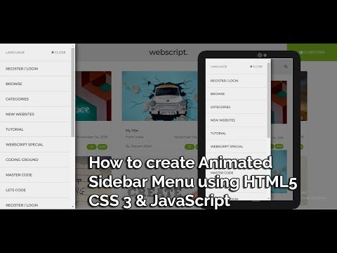 How To Create Animated Sidebar Menu Using HTML 5, CSS 3 & JavaScript