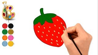 How to draw  strawberry with colouring page and drawing for kids.