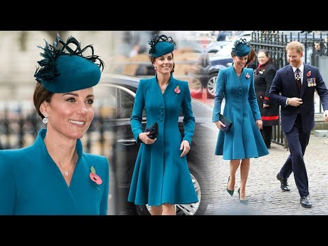 Duchess Kate picks a chic teal coat for an outing with Prince Harry at Westminster Abbey today