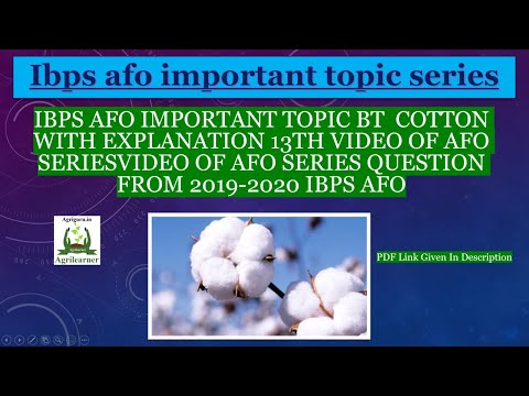 IBPS AFO Important Topic Bt Cotton With Explanation 13th Video Of AFO Series