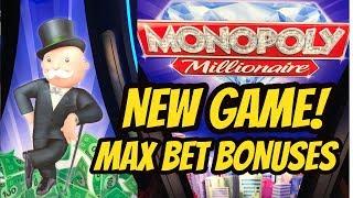 NEW GAME! MONOPOLY MILLIONAIRE SLOT MACHINE-BONUSES