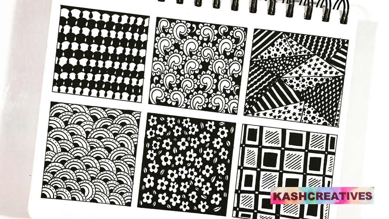 6 Easy Zentangle Art Patterns that everyone can draw !! (Time-Lapse) | Kash  Creatives