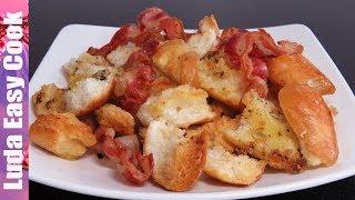 ХРУСТЯЩИЕ СУХАРИКИ с ЧЕСНОКОМ и БЕКОНОМ – быстрая ЗАКУСКА к фильму - bread croutons recipe easy